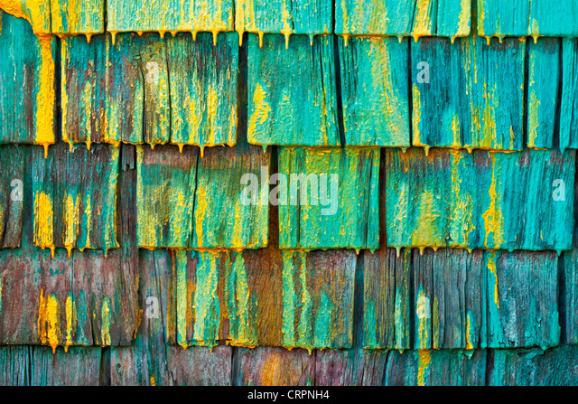 Shingled wall of a fisherman's shed in Nova Scotia, Canada. - Stock Image