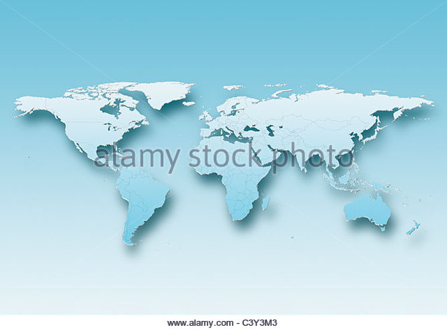 map, world, europe centered, blue, political - Stock Image