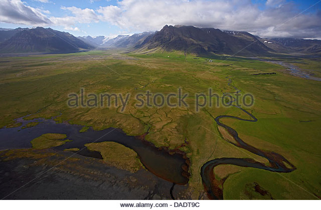 Elevated view of meandering glacial river, South Iceland - Stock Image
