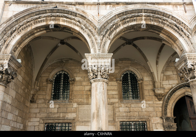 Arches of the Sponza Palace Dubrovnik - Stock Image