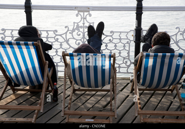 Seaside Uk Pier Deck Chairs Stock Photos Amp Seaside Uk Pier