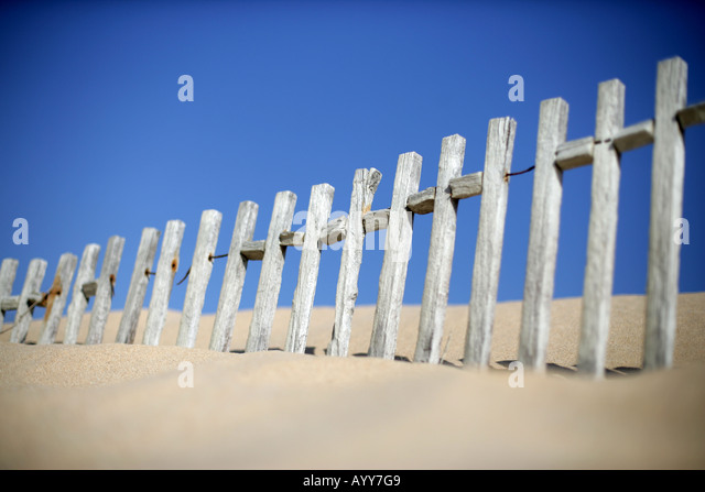 wooden picket fencing in sand dune with blue sky - Stock Image