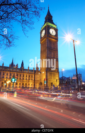 Big Ben at Night. The turrett clock sits at the North East end of the Houses of Parliament. - Stock Image