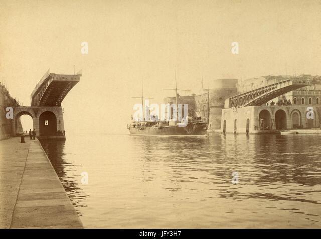 Moving Bridge in the port of Taranto, Italy - Stock Image