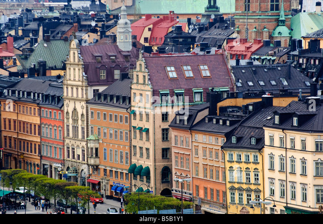 Facades along Stora Nygatan in Gamla Stan the old town of Stockholm Sweden - Stock Image