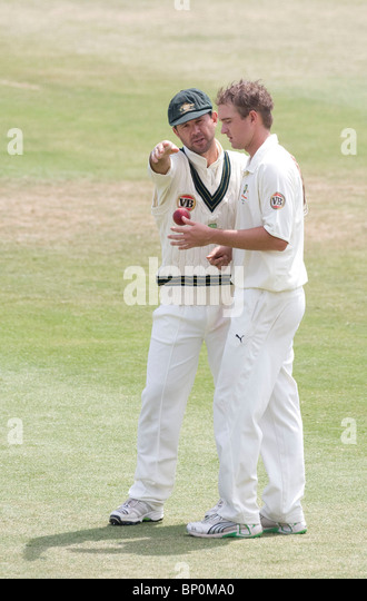 Australia's captain Ricky Ponting and Nathan Hauritz - Stock Image