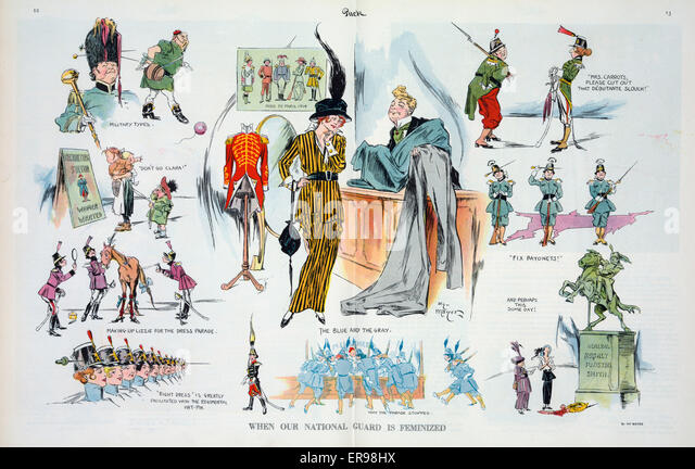 When our national guard is feminized. Illustration shows a vignette cartoon with, at center, a woman selecting colors - Stock Image