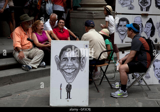 An artist's caricature of U.S. President Barak Obama is seen in Florence, Italy. - Stock Image