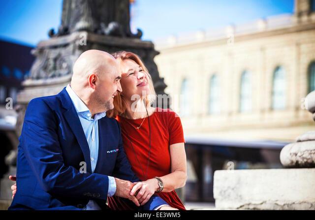 Portrait of happy senior couple outdoors, Munich, Bavaria, Germany - Stock-Bilder