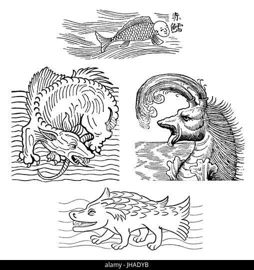 Mythical sea monters, medieval engraving - Stock Image