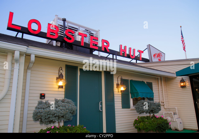 Massachusetts Plymouth Water Street Town Wharf Lobster Hut restaurant seafood entrance front sign - Stock Image