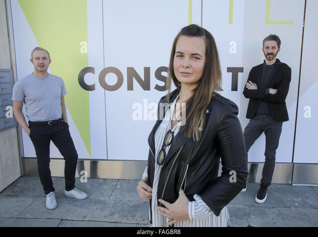 Los Angeles, California, USA. 23rd Nov, 2015. Left to right, Brandon Quattrone, Marie Goble and Mat Sanders cofounders - Stock Image