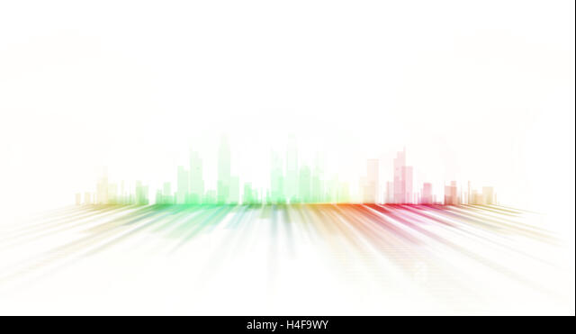 city skyline illustration - graphic design painting - Stock Image