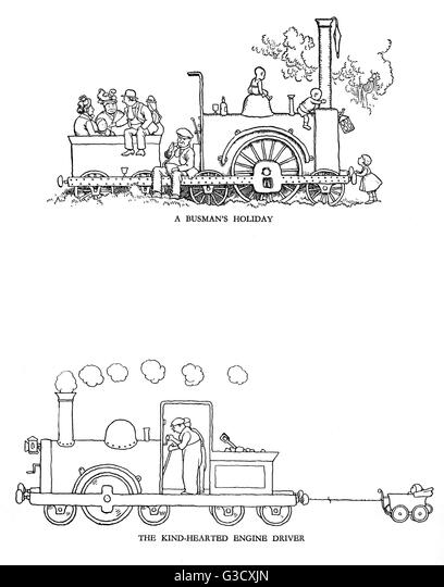 Vignette illustrations, Railway Ribaldry by W Heath Robinson -- A busman's holiday and The kind-hearted engine - Stock-Bilder