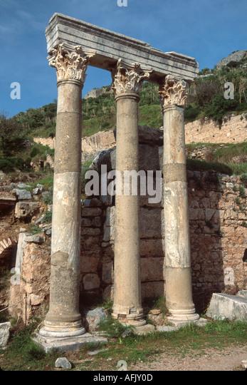 Turkey Selcuk Ephesus Curetes Street ruins of Greco Roman city BC320 columns - Stock Image