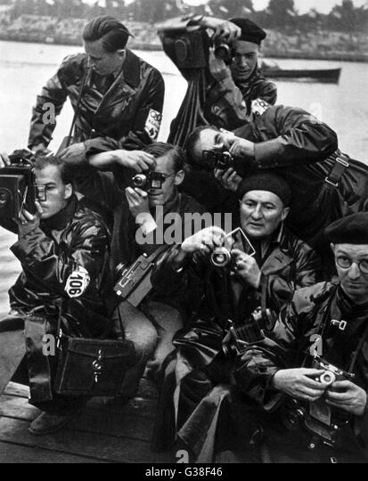 Some of the photographers at  the Olympic Games, Berlin 1936        Date: 1936 - Stock Image