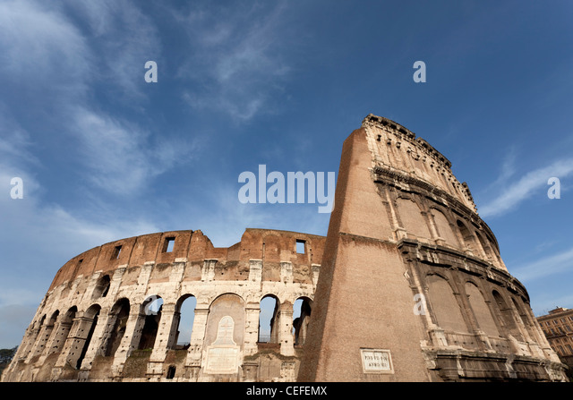 Low angle view of Roman Coliseum - Stock Image