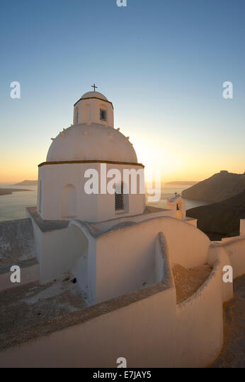 Agios Minas Church at sunset, Thira, Santorini, Cyclades, Greece - Stock Image