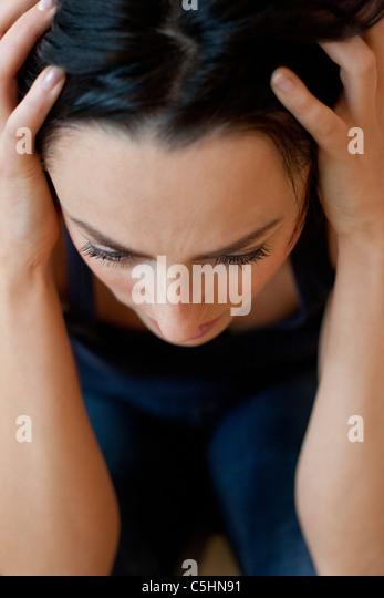 Depressed woman - Stock Image
