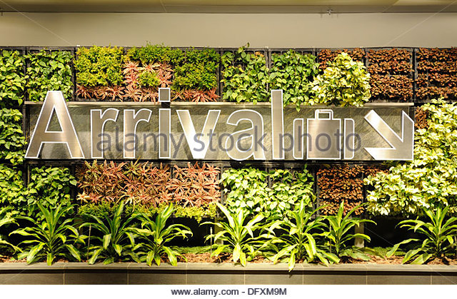 Singapore - Changi Airport. Directions for arrivals to the baggage claim, surrounded by a living wall. - Stock-Bilder