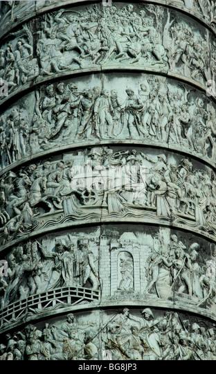 Column Vendome erected by Napoleon Bonaparte to conmemorate the Battle of Austerlitz. Reliefs. Vendome Square. Paris. - Stock Image