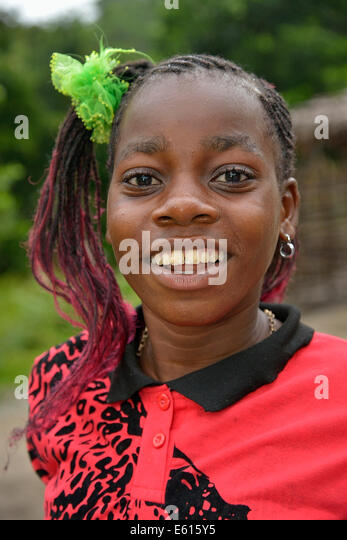 Laughing girl Nkala, portrait, Bandundu Province, Democratic Republic of the Congo - Stock-Bilder
