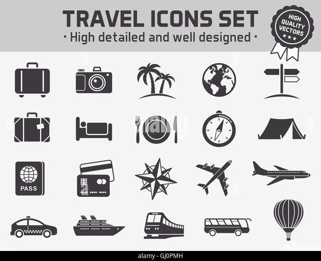 Collection of twenty high quality icons set for travel ant tourism - Stock Image