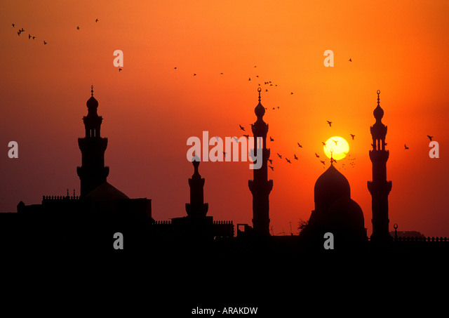 Sunset over Hassan Mosque Cairo Egypt. - Stock Image