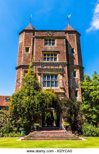 Castle towers at Sissinghurst Gardens, Kent, UK - Stock Image