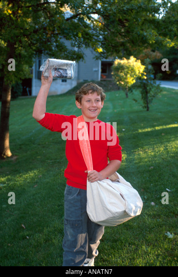 New Jersey Oradell newspaper delivery boy part time job responsibility - Stock Image