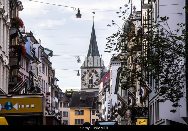 St Peter Church Clocktower in Zurich, Switzerland - Stock Image