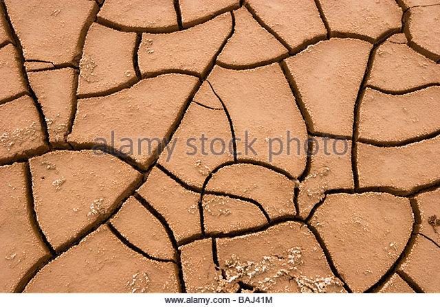 Dry Mud Cracks Bombay Beach California - Stock Image