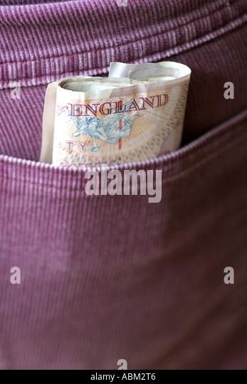 cash in back pocket - Stock Image