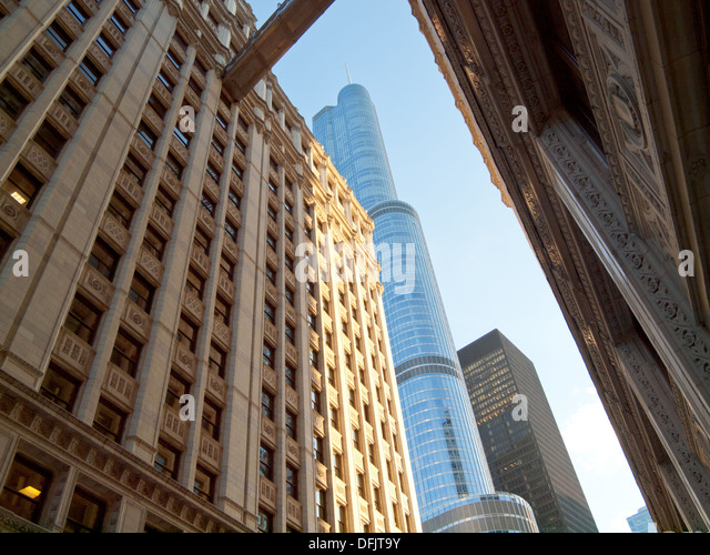 A view of the Wrigley Building and the Trump International Hotel and Tower Chicago in Chicago, Illinois. - Stock Image