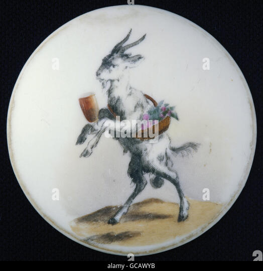 fine arts, painting, painted beer jug lid, contour print, coloured, billy goat as waiter, Germany, 2nd half 19th - Stock Image