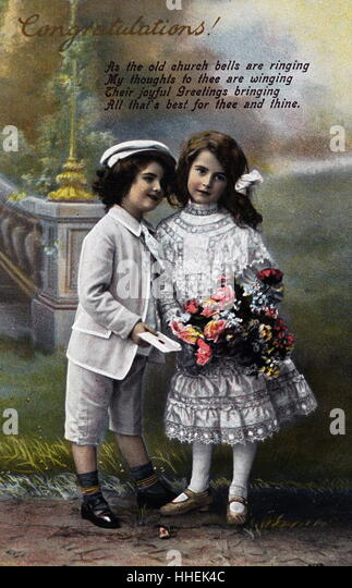 Wedding congratulations postcard; English 1910. - Stock Image