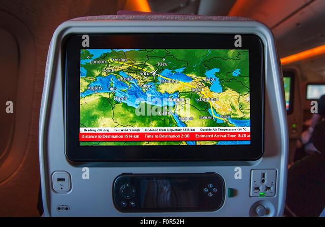 Boeing 777-300, entertainment system, screen in the passenger compartment, economy class, Dubai-Frankfurt - Stock Image
