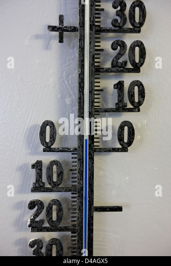 centigrate thermometer with temperature of two degrees above freezing - Stock Image