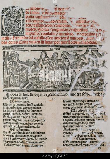 Hernando del Castillo (16th C). Spanish poet and bookseller. Cancionero General de Muchos y Diversos Autores. Poetic - Stock Image