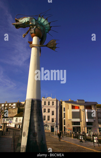 The giant shrimp on the Barbican in Plymouth, Devon. - Stock-Bilder