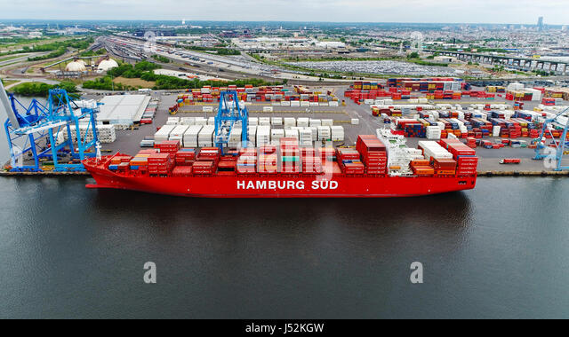Cargo Container Ship Docked in Port - Stock Image