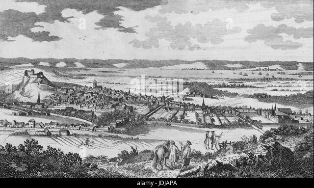 Engraving from a landscape of the city of Edinburgh and it's castle, along with Leith, Burntisland and Kinghorn, - Stock Image