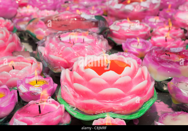 Pink Lotus Candles; Jade Buddha Temple; Shanghai; China - Stock Image