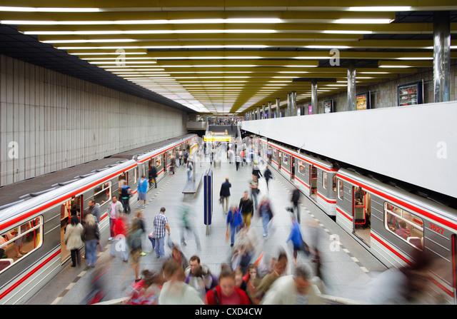 Underground train arriving at Smichovske Nadrazi metro station, Prague, Czech Republic, Europe - Stock-Bilder