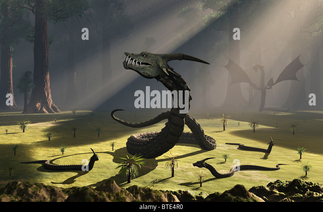 Family Gathering Of Serpent Dragons. - Stock Image