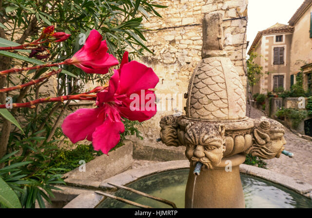 The Fontaine des Mascarons, stone fountain in historic village of  Séguret, 15th century,  Vaucluse, Provence, - Stock Image