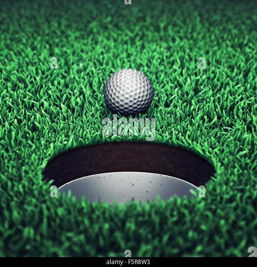 Golf ball on grass , Golf tournament ,Golf course - Stock Image