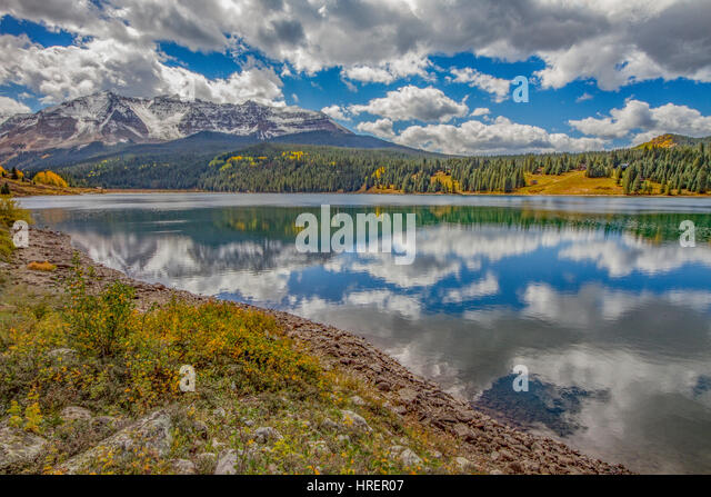 Trout Lake and San Juan Mountains, Uncomphagre National Forest, Colorado, Near Telluride Morning - Stock-Bilder