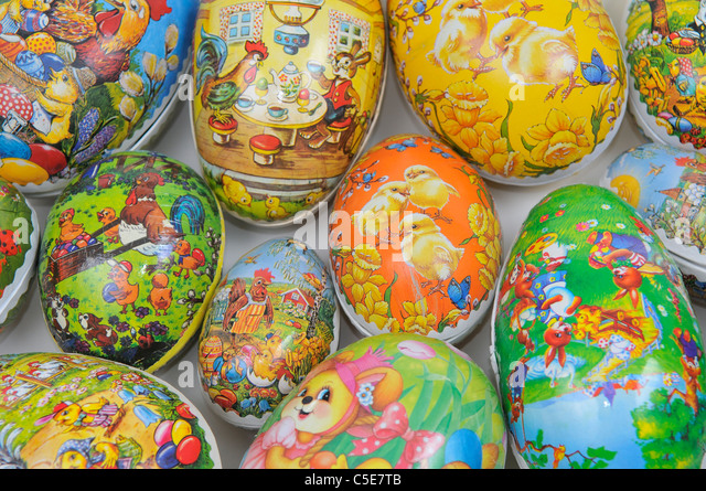 Extreme close-up of artistically decorated Easter eggs - Stock-Bilder