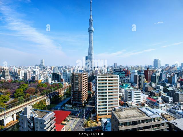 Landmark structures in Tokyo, Japan. - Stock Image